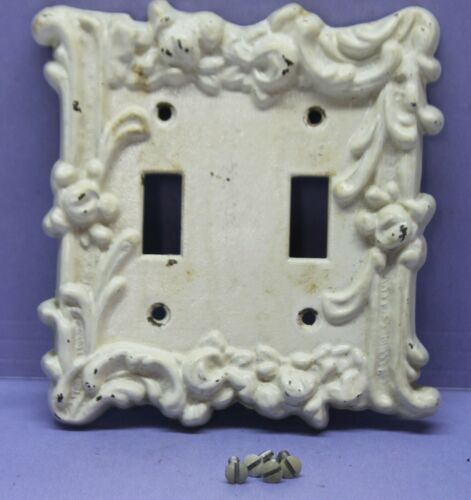 💡 Vintage Victorian Cast Iron Light Switch Plate Cover, Double White Distressed