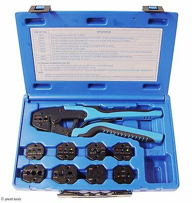 Ratcheting Terminal Crimper Tool 9 Dies - Wire Crimping Tools Terminals