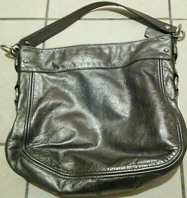 Women's Coach Silver Leather Zoe Shoulder Bag Purse Hobo E1032-F14706