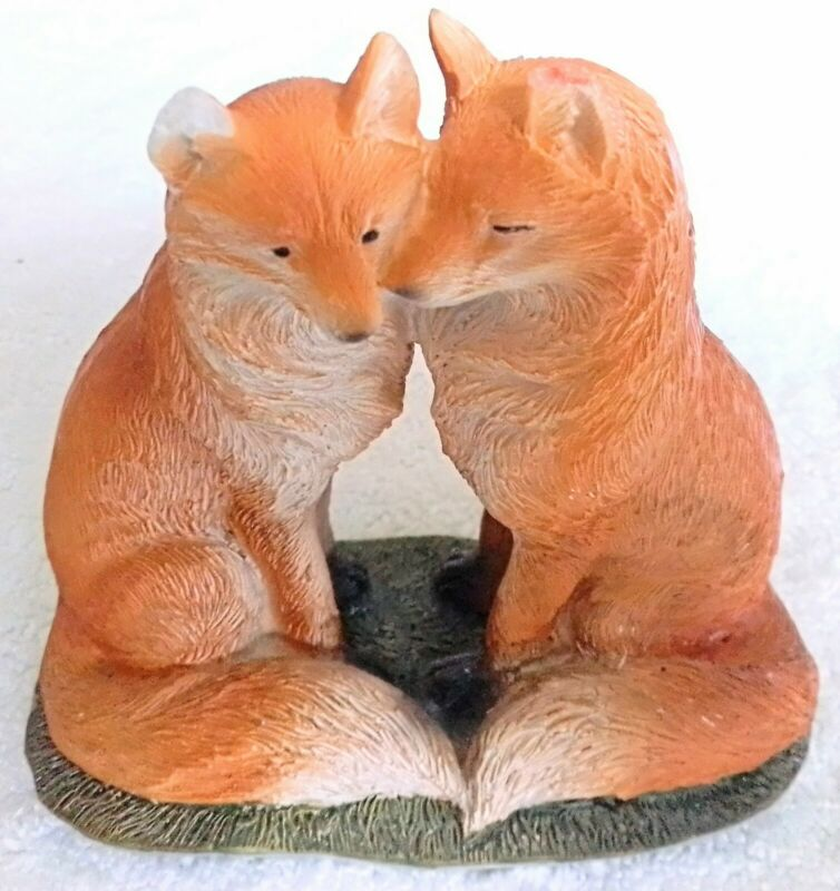 """Cute PAIR Of DOGS Figurine 4"""" High With Nice Colors & Detail On Green Grass Base"""