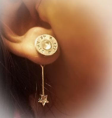 45 Bullet Shell Studs with Dangling Star Backing