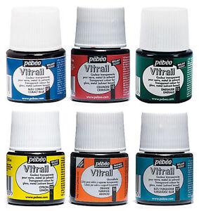 Pebeo-Vitrail-Glass-Paint-45ml-Bottles-Transparent-Effect-Colours