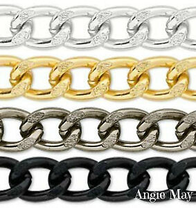 5-FEET-Non-Tarnish-Aluminum-14x10mm-Jewelry-Large-Twisted-Curb-Chain