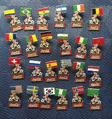1994 FIFA World Cup USA Coca Cola Stryker Mascot Holding Flag 24 Pin Set
