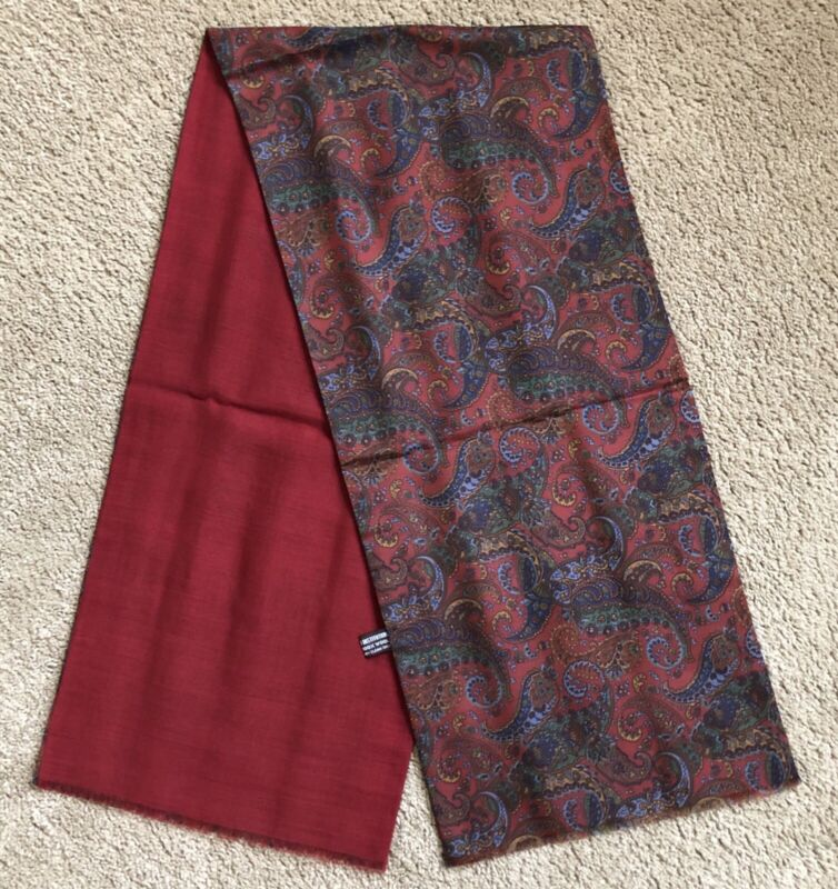 Smithsonian Institution VTG Red Paisley Silk Wool Lined Scarf Made In Italy NWOT