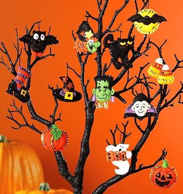 Bucilla Halloween ~12 Pce. Felt Ornament Kit #86430 Ghost Witch Pumpkin - Halloween Felt Craft Kits