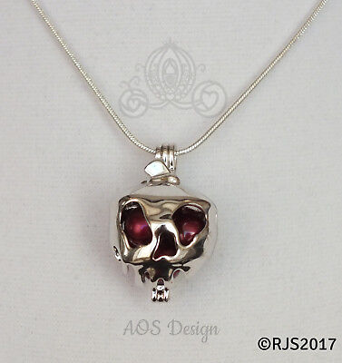 Poison Apple Pearl Cage Locket Charm Pendant Necklace Snow White Witch Queen