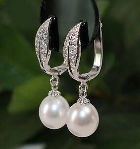 AL117 Genuine AAA White Cultured Freshwater Pearl Silver Earrings   CZ