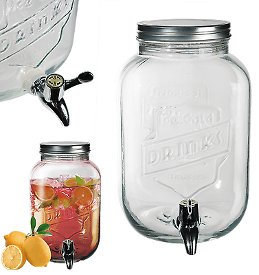 Glass Drink Dispenser For Flavoured Water Juice Party Punch