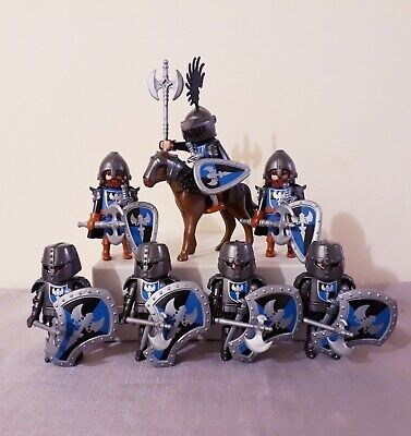 Playmobil blue knights bundle, warriors, castle figures playset, chief mounted