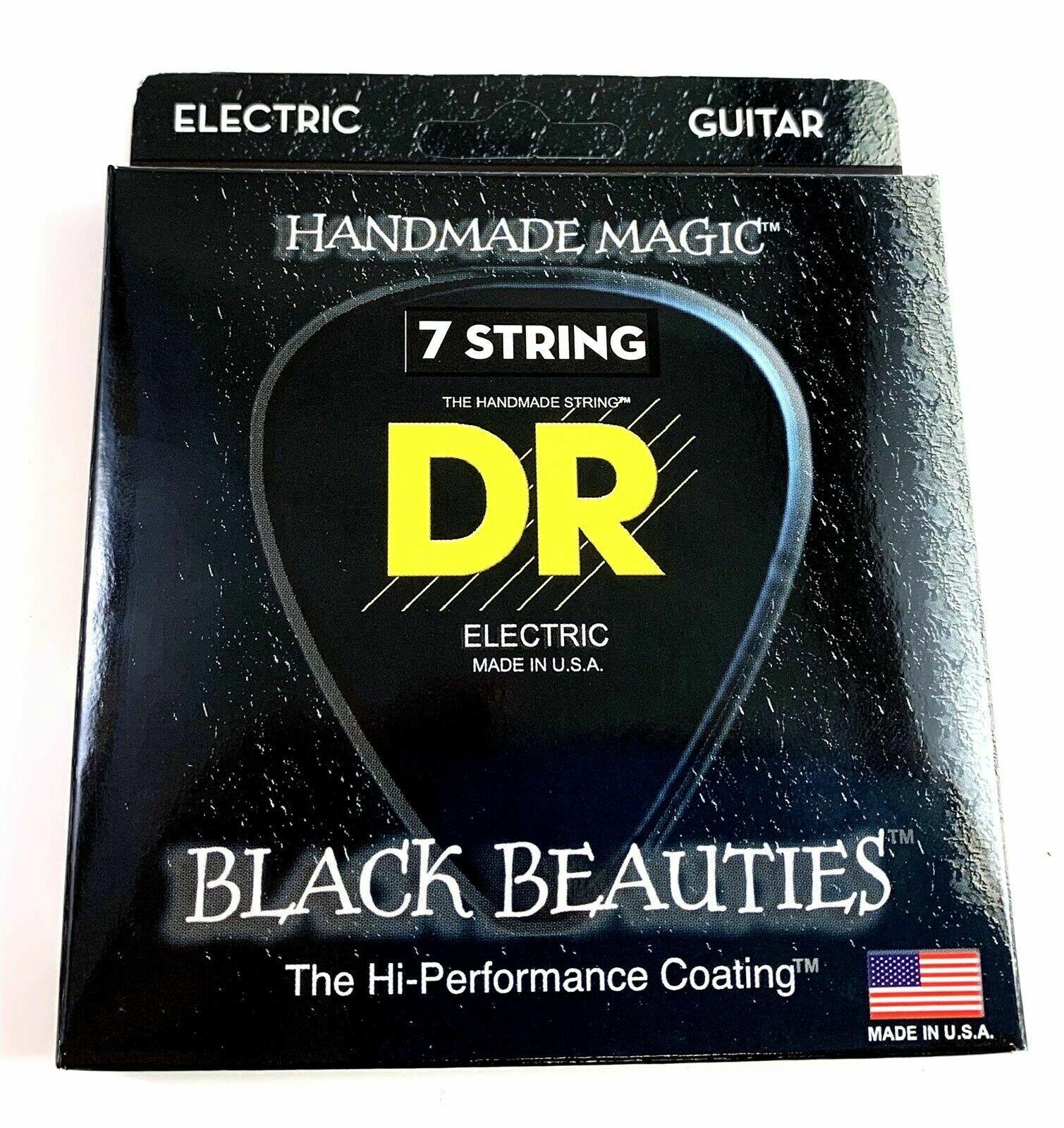 DR BKE7-11 Extra Life Black Beauties Coated Guitar Strings 11-60 7-string set