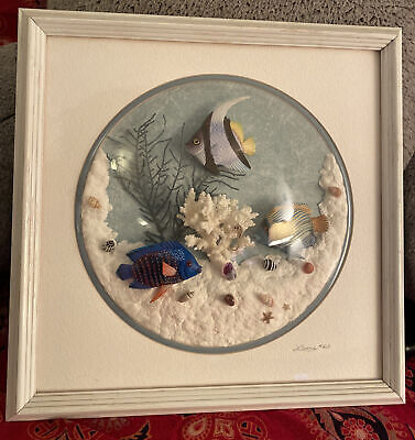 Framed,Signed Saltwater Fish Bubble Wall Art. Handmade colorful underwater scene