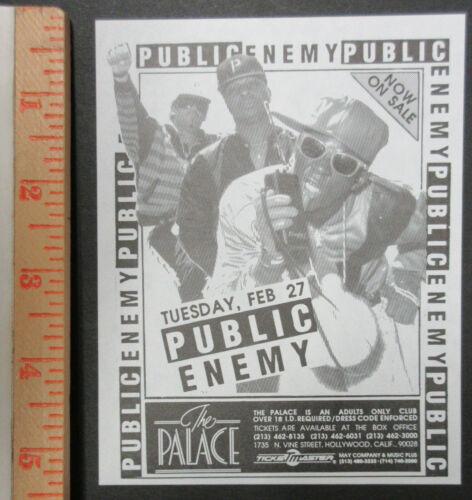 PUBLIC ENEMY The Palace HOLLYWOOD 1990 HIP HOP Concert FLYER Def Jam RAP Chuck D