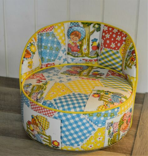 Super Cute Retro Vintage Booster Seat Colorful Patchwork Girl Chicken Flowers