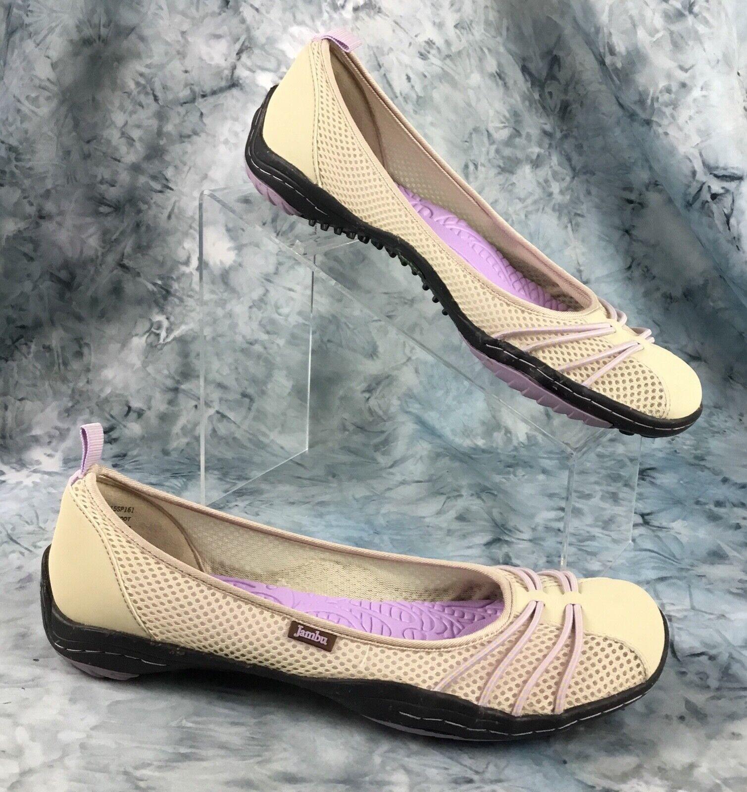 Jambu Bare Feet Designs Flats Beige Mesh w/ Faux Leather Pur