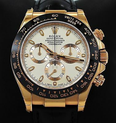 Rolex Daytona 116515 Cosmgraph 18K Rose Gold Ivory Leather Band Watch *BRAND NEW