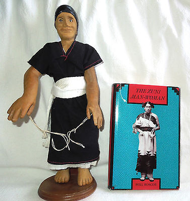 WE'WHA  Unique ZUNI MAN-WOMAN 15-Inch Wood Doll Sculpture Berdache Lhamana 1800s