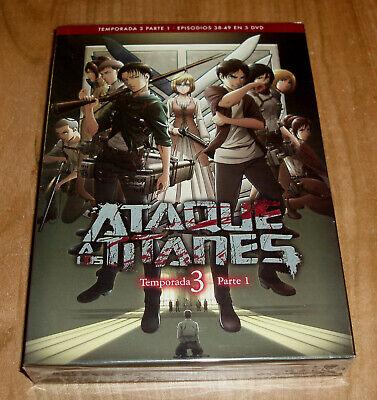 ATAQUE A LOS TITANES 3ª TEMPORADA PARTE 1 NUEVO 3 DVD PRECINTADO...
