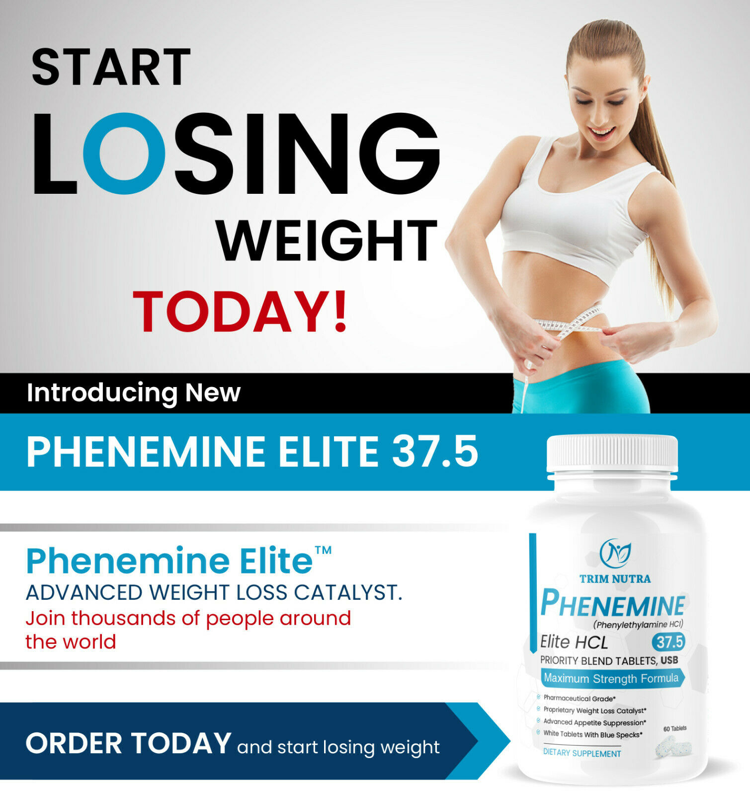 2 Month Phenemine Elite 37.5 White/Blue Weight Loss Diet Pills Fat Burners 375 3