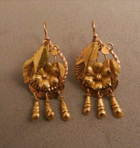 10K SOLD YELLOW & ROSE GOLD DANGLE PIERCED EARRINGS,ESTATE FINE JEWELRY