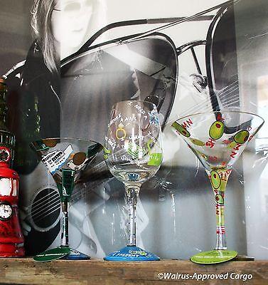 "LOLITA ""LOVE MY…"" MARTINI AND WINE GLASSES -NIB- HAND-PAINTED COCKTAIL HOUR FUN!"