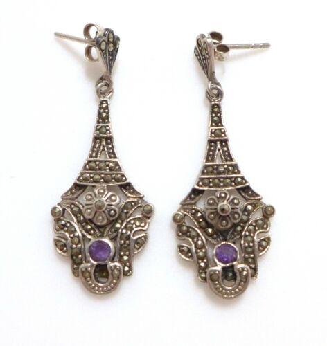 Long Antique Art Deco Amethyst Marcasite 925 Silver Dangle Drop Earrings