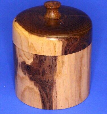 Wooden treen trinket box storage jar - Laburnum, H:7.5cm *[18699]