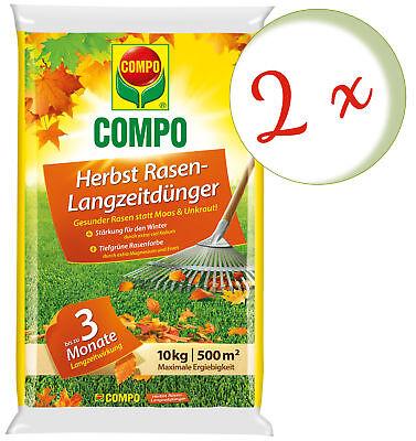 Savings Set: 2 x Compo Autumn Lawn Fertilizer with Long-Term Effects, 10 KG