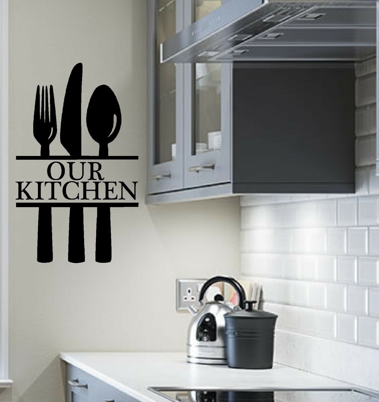 Home Decoration - Our kitchen wall art sticker cutlery decal stickers vinyl home decor