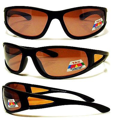614ef0cf0e5 POLARIZED Sunglasses NEW Baseball Fly Fishing Glasses Amber Lens Wrap  Around NEW