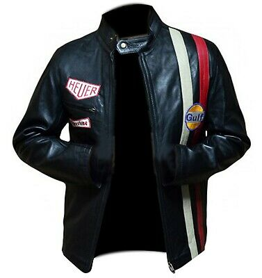 Steve McQueen Le Mans Driver Grandprix Gulf Motorcycle Leather Jacket