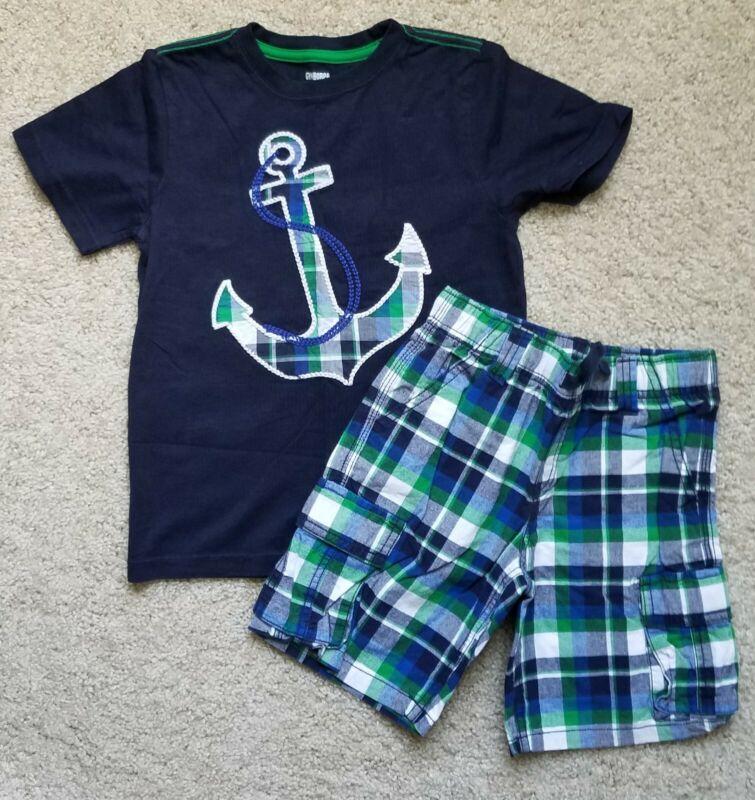 GYMBOREE Boys Sz 5 T Anchor Nautical Tee & Plaid Shorts ~