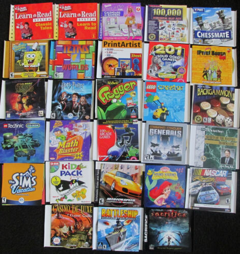 lot of 28 PC games/software discs and inserts included, but no cases FREE SHIPP