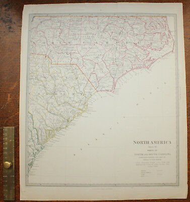 1852 Parts of North and South Carolina Original Antique MAP Knight