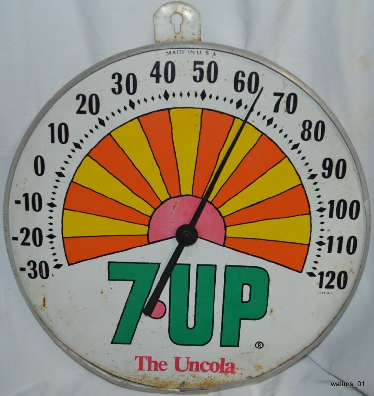 Vintage Advertising 7 Up The Uncola Peter Max Style Sunburst Thermometer 1971