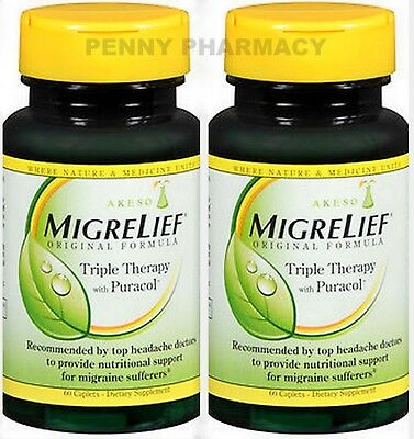 - Migrelief Migraine Caplets Triple Therapy 60ct (2 pack) PHARMACY FRESH!