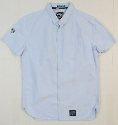SUPERDRY L MEN'S ULTIMATE OXFORD SHORT SLEEVE SHIRT IN LIGHT BLUE BUTTON-DOWN