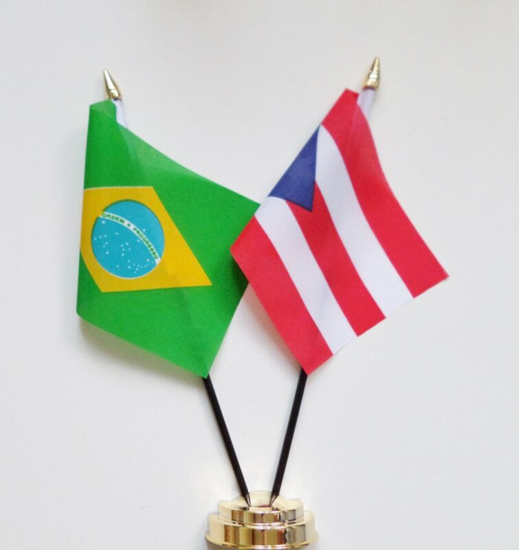 Brazil & Puerto Rico Double Friendship Table Flag Set