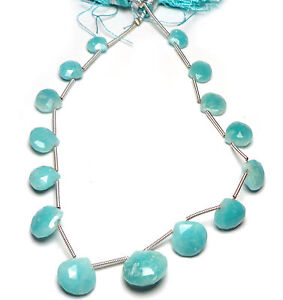 BLUE-GREEN-AMAZONITE-FACETED-HEART-15-BRIOLETTE-BEADS-263M-7x7x2mm-to-12x13x6mm