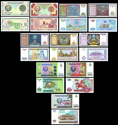 Uzbekistan P-73,74,75,76,77,78,79,80,81,82 Uncirculated Banknotes Set # 3