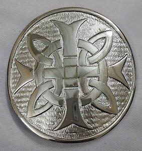 Nuovo-Fibbia-Per-Cintura-Da-Kilt-Croce-Rotondo-Finitura-Argento-3-034-Celtic-Knot