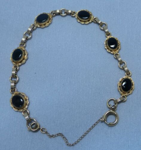 Vintage Gold Filled Onyx Link Bracelet with Safety Chain 1/20 12k