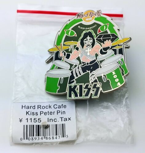 KISS Band Hard Rock Café Pin Badge Peter Criss Osaka Japan Black Diamond LE 1000