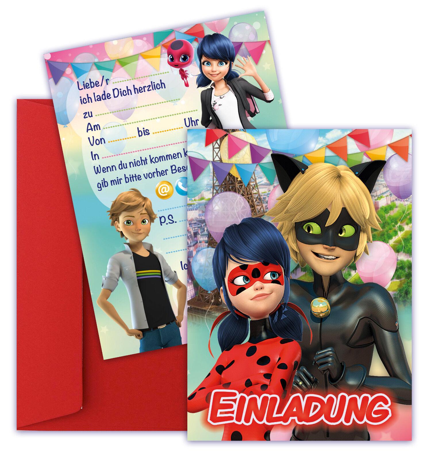 🐞 Ladybug Einladungskarten Miraculous Mädchen Geburtstag 8 Stk.+ 8 Ümschlägen