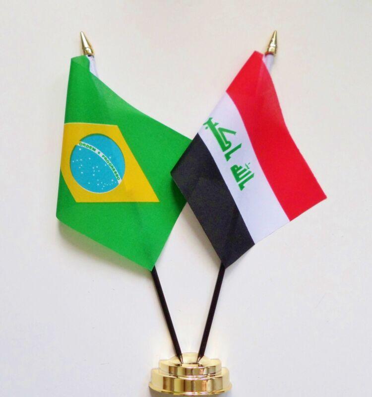 Brazil & Iraq Double Friendship Table Flag Set