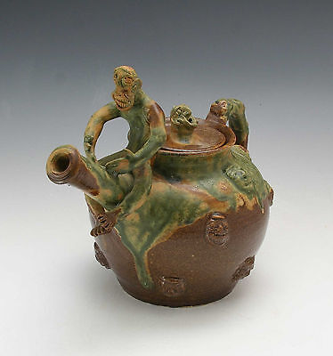 "Stacy Lambert ""Time for Tea' Teapot Seagrove NC Pottery North Carolina Folk"
