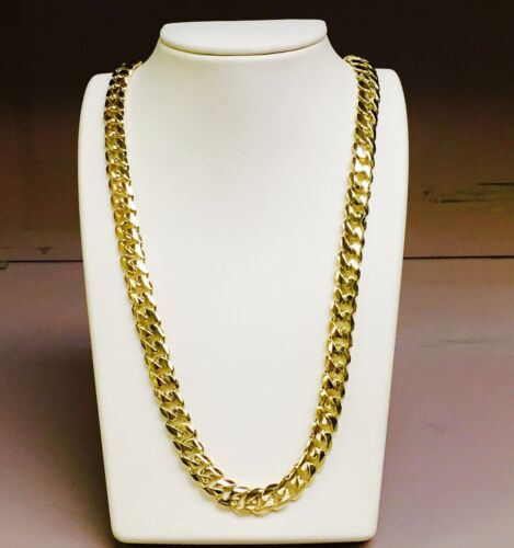 """14k Solid Gold Miami Cuban Curb Link 30"""" 10.5 Mm 195 Grams Chain/necklace Mc300"""