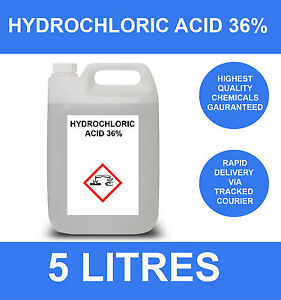 5 LITRE 36.2% HYDROCHLORIC ACID PURE 5L
