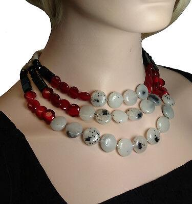 - Ann Taylor Loft Glass Beaded 3 Strand Necklace NWOT
