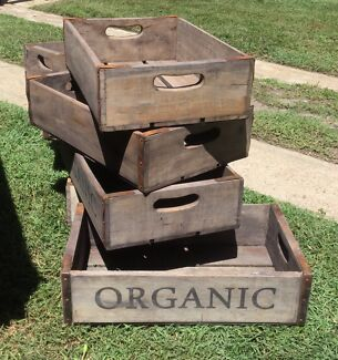 7 X vintage rustic timber wooden soda crates boxes $35 each